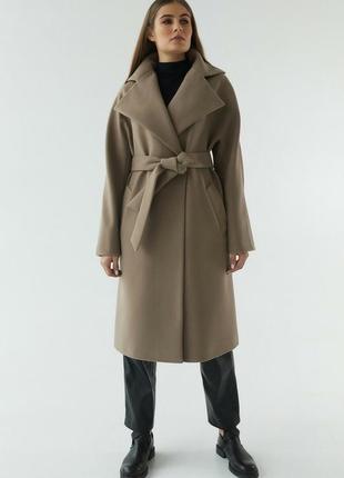 Пальто с широким воротником миди с поясом классика шерсть