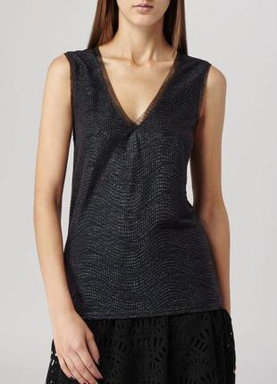 Металлизированная фактурная блуза топ майка