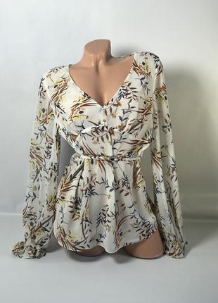 Шикарная блуза с объёмными рукавами на поясочке 🌿