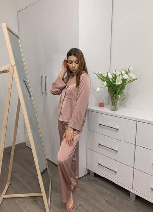Шелковая свободная женская пижама для дома и сна