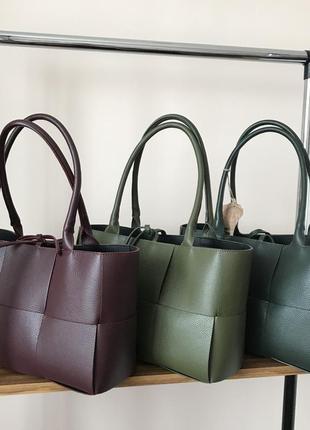 Итальянская кожаная сумка шоппер стиль боттега, кожа, италия