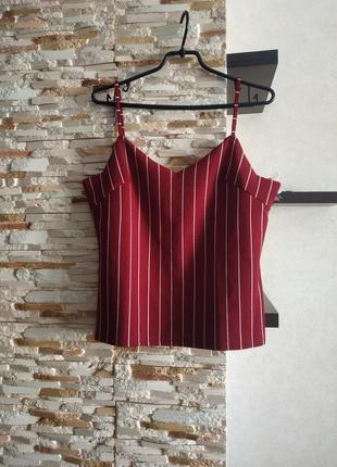 Блуза в полоску на брителях майка топ1 фото