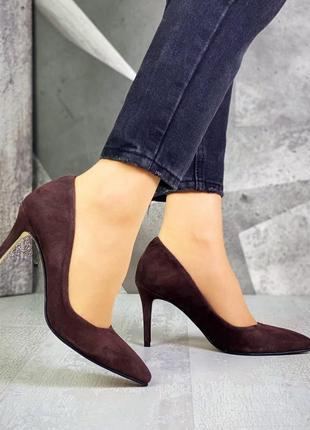 Туфли замша средний каблук
