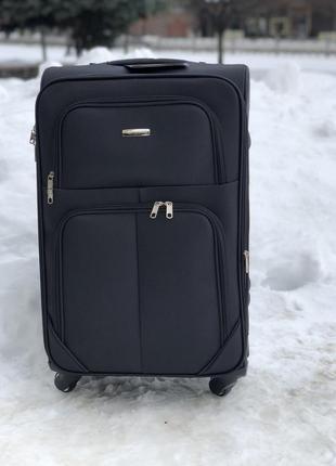 Тканина валіза, s розмір, на 4 колеса чорного кольору