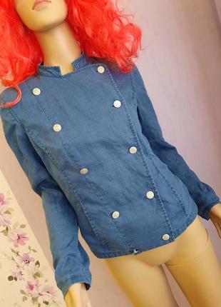 Laura ashley  рубашка,пиджак,ветровка лён синего цвета,тренд 2021.