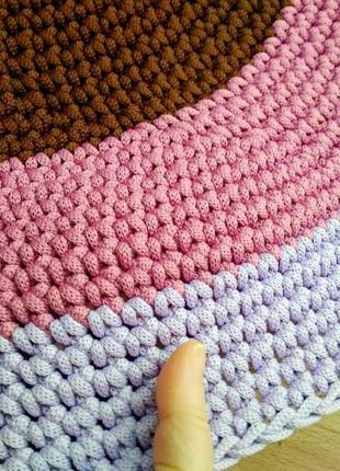 Красивый круглый вязаный ковер коврик ручной работы детский для ванной детской крючком