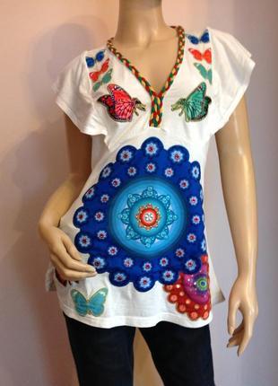 Оригинальная трикотажная блузка от бренда desigual/ м- l/