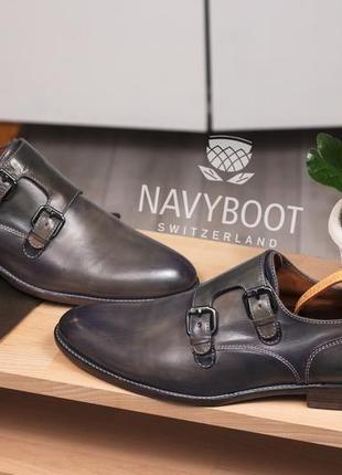 Двойные монки премиум класса navyboot, италия 45 мужские туфли ручной работы