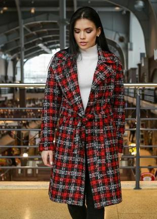 Пальто женское демисезонное красное клетка размеры: 42-48