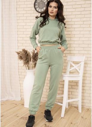 Оливковый спортивный костюм с укороченным худи, оверсайз