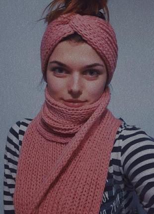 Вязаный набор, шарф и повязка-чалма