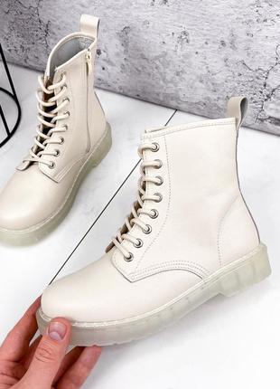 Шикарные женские демисезонные бежевые ботинки