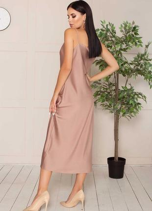 Плаття комбінація \ сукня \ платье-комбинация из шелка длиной миди в бельевом стиле7 фото