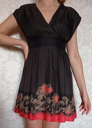 Шелковое платье в горошек ted baker london , 100% шелк s