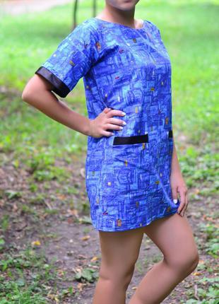 Летнее хлопковое платье с джинсовым принтом3