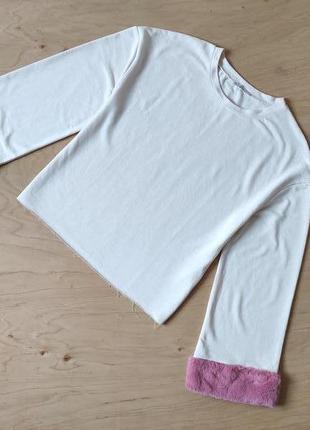 Кофта свитшот zara с меховыми вставками
