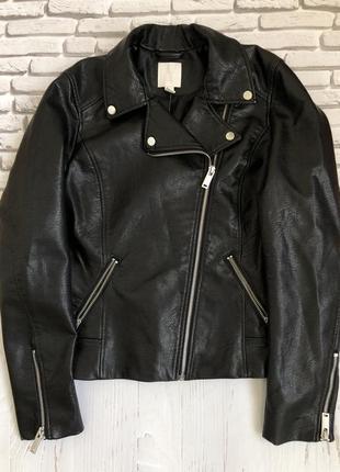 Черная демисезонная куртка h&m,кожаная косуха