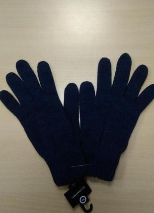 Перчатки, мужские, теплые, шерстяные, вязаные, двойные, синие, c&a, xl
