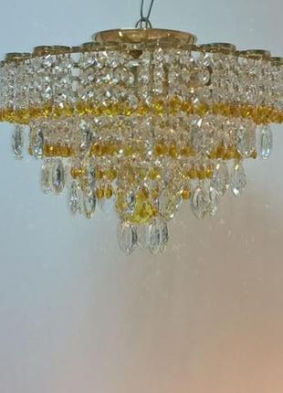 Хрустальная люстра с подвесками цвета шампань