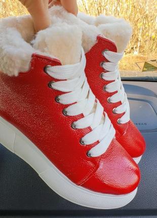 Женские кожаные ботинки на меху, жiночi шкiрянi черевики з хутром