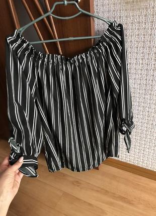 Полосатая блузка блуза чёрная в полоску рубашка кофта 14 размер