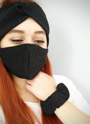 Набір: сяюча повязка+маска+резинка для волосся