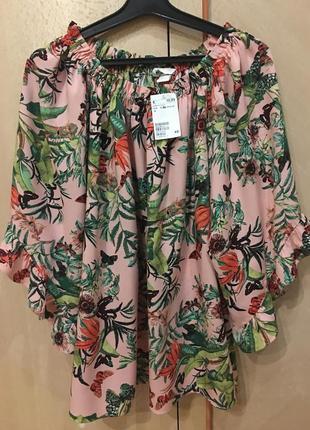 Натуральная блузка новая принт 44-48