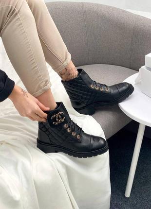 Женские демисезонные ботинки в стиле chanel 🔥натуральная кожа, весна осень8 фото