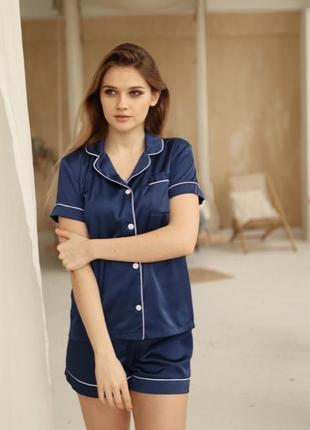 Качественная шелковая/атласная синяя пижама. пижама шорты и рубашка хс-л