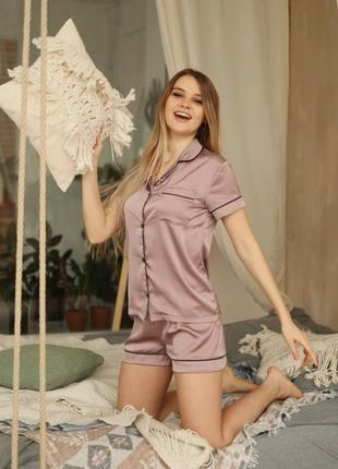 Качественная шелковая/атласная мокко пижама. пижама шорты и рубашка хс-л