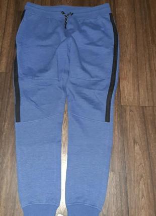 Тёплые спортивные штаны синие, электрик размер l