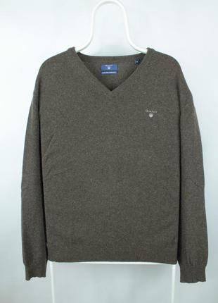 Качественный шерстяной свитер gant v-neck brown wool sweater