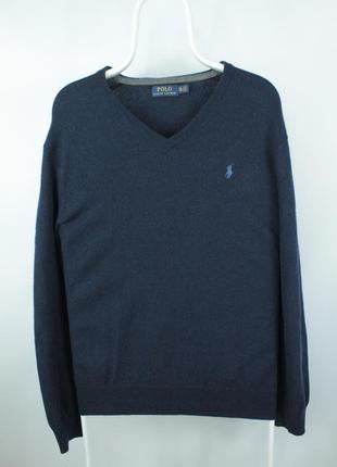 Оригинальный шерстяной свитер polo ralph lauren v-neck blue wool sweater