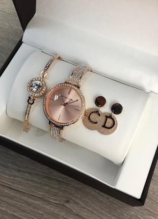 Подарочный набор michael kors bracelet/watch/earrings gold