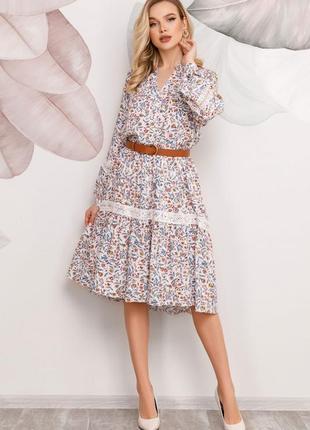 Принтованное платье-рубашка с кружевными вставками