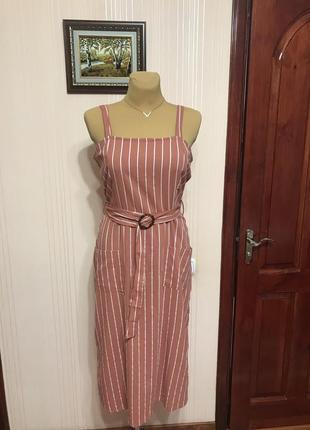Полосатое платье-сарафан под пояс
