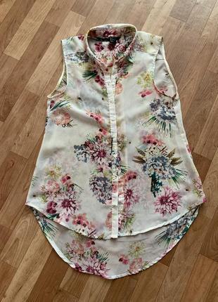 Блуза в цветочный принт, размер с