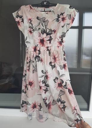 Безумно красивое шифоновое платье, цветочный принт платье женское