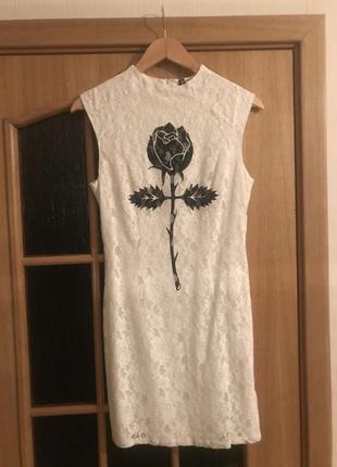 Біла мереживна сукня devided