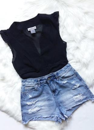 Warehouse 100% silk шелковая блузка xs тренд топ черная прозрачная блуза