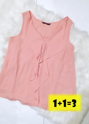 M&s лаконичная блуза блузка коралловая пудровая розовая рюши стильная свободная