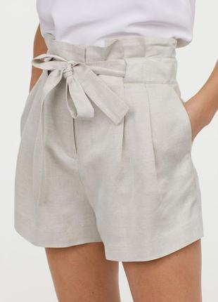 Льняные базовые шорты h&m с последней колекции