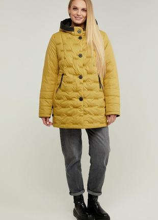 Куртка женская удлиненная демисезонная с капюшоном размеры: 52-62