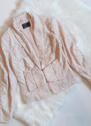 H&m милейший кружевной блейзер бежевый пиджак жакет кардиган кружево гипюр