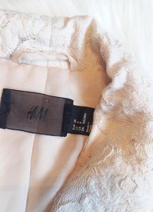 H&m милейший кружевной блейзер бежевый пиджак жакет кардиган кружево гипюр3 фото