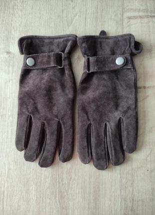 Стильные мужские кожаные замшевые перчатки tcm, р.8