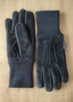 Теплые мужские кожаные замшевые термоперчатки  thinsulate ,l