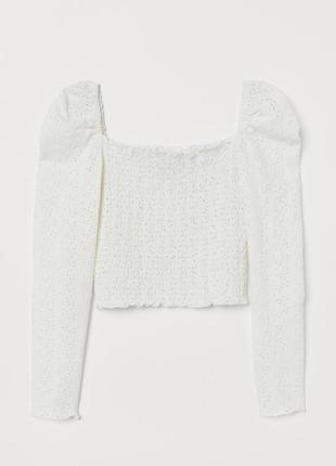 H&m блуза топ с квадратным декольте пышными рукавами буф