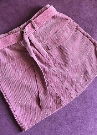 Розовая велюровая юбка