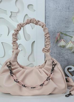 Пудровая сумка клатч облако, сумка пельмень